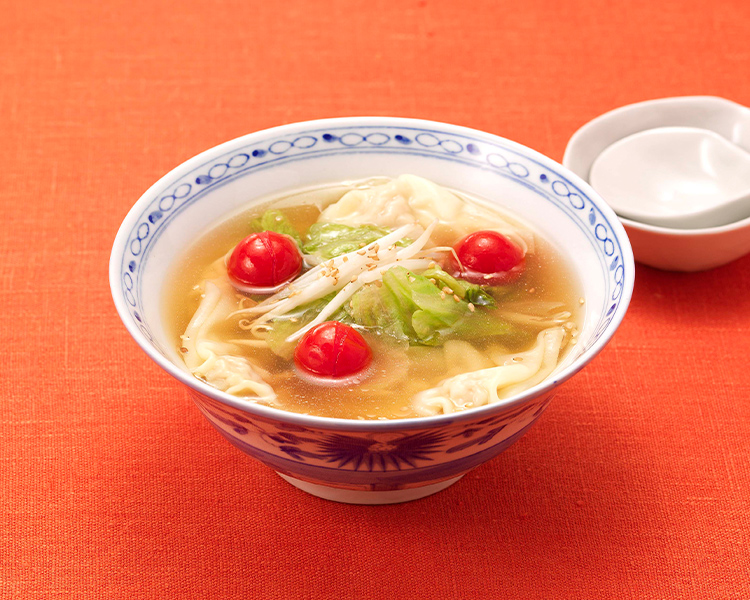 レタスともやしの肉ワンタンスープ 胡麻風味
