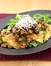 鶏そぼろとなすのカリカリ麺サラダ