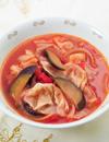 ワンタンとなすの中華トマトスープ
