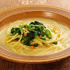 ほうれん草チャウダーのスープスパゲティ
