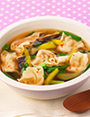夏のスタミナ野菜 ピリ辛ワンタンスープ
