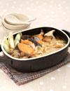 鮭とキノコのワンタン鍋